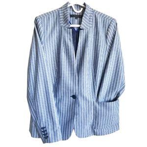 WILLOW & THREAD / Blue Pinstripe Lined Blazer